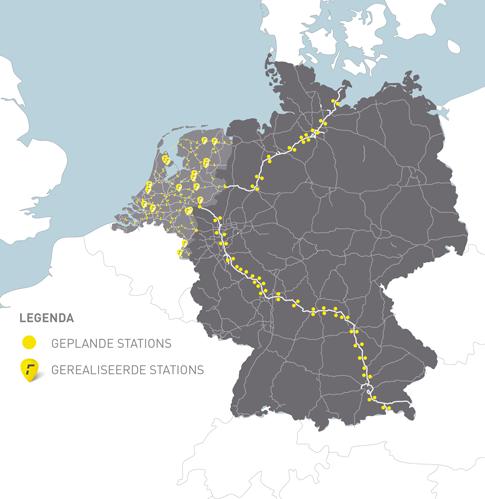 Geplante Schnellladekorridore in Deutschland. Grafik: Fastned